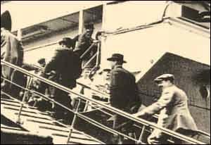 Passengers boarding the Titanic