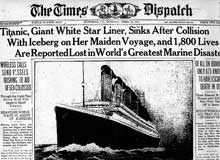 1912, the sinking of the Titanic